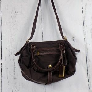 Gryson Skye Brown Nylon Leather Satchel Bag